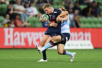 19th March 2021; Melbourne Rectangular Stadium, Melbourne, Victoria, Australia; Australian Super Rugby, Melbourne Rebels versus New South Wales Waratahs; Will Harrison of the Waratahs tackles Reece Hodge of the Rebels