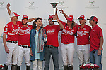 WELLINGTON, FL - FEBRUARY 19: June Ylvisaker celebrates with Team Coca Cola after winning the William Ylvisaker Cup, defeating Tonkawa 9 - 8 in overtime with a Golden Goal on a Penalty 2 by Julio Arellano, at the International Polo Club, Palm Beach on February 19, 2017 in Wellington, Florida. (Photo by Liz Lamont/Eclipse Sportswire/Getty Images)