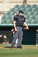 Home plate umpire Colin Baron during the South Atlantic League game between the Delmarva Shorebirds and the ki\ at Kannapolis Intimidators Stadium on May 19, 2019 in Kannapolis, North Carolina. The Shorebirds defeated the Intimidators 9-3. (Brian Westerholt/Four Seam Images)