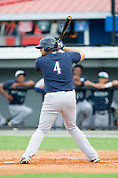 Kristian Brito (4) of the Pulaski Mariners at bat against the Burlington Royals at Burlington Athletic Park on July 20, 2013 in Burlington, North Carolina.  The Royals defeated the Mariners 6-5.  (Brian Westerholt/Four Seam Images)