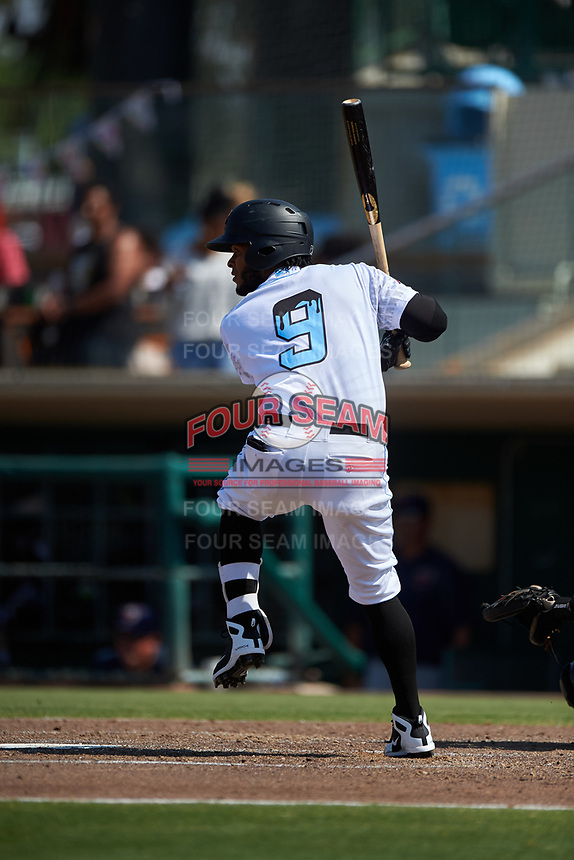 Inland Empire 66ers third baseman Alberto Triunfel (9) at bat during a California League game against the Lancaster JetHawks at San Manuel Stadium on May 20, 2018 in San Bernardino, California. Inland Empire defeated Lancaster 12-2. (Zachary Lucy/Four Seam Images)