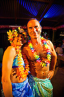 Yachting couple dressed up for Tahitian dance