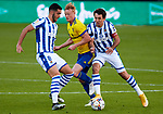 Mikel Oyarzabal (Real Sociedad) Jens Jönsson (Cadiz CF) and Mikel Merino (Real Sociedad) competes for the ball during  La Liga match round 10 between Cadiz CF and Real Sociedad at Ramon of Carranza Stadium in Cadiz, Spain, as the season resumed following a three-month absence due to the novel coronavirus COVID-19 pandemic. Nov 22, 2020. (ALTERPHOTOS/Manu R.B.)