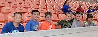 Houston, TX - Friday April 29, 2016: Houston Dash fans prior to the start of the Houston Dash versus Sky Blue FC game at BBVA Compass Stadium. The Houston Dash tied Sky Blue FC 0-0.