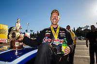 Feb 12, 2017; Pomona, CA, USA; NHRA pro stock driver Jason Line celebrates after winning the Winternationals at Auto Club Raceway at Pomona. Mandatory Credit: Mark J. Rebilas-USA TODAY Sports