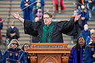 May 23, 2021; Rev. James K. Foster, C.S.C. sings at the opening of the 176th Commencement Ceremony in Notre Dame Stadium. (Photo by Barbara Johnston/University of Notre Dame)
