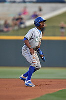 Right fielder Khalil Lee (9) of the Lexington Legends in a game against the Columbia Fireflies on Friday, April 21, 2017, at Spirit Communications Park in Columbia, South Carolina. Columbia won, 5-0. (Tom Priddy/Four Seam Images)