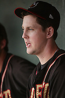 Adam Jorgenson of the Modesto Nuts during game against the Lancaster JetHawks at Clear Channel Stadium in Lancaster,California on July 15, 2010. Photo by Larry Goren/Four Seam Images