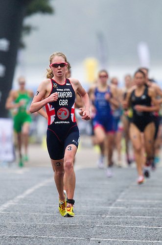 14 SEP 2013 - LONDON, GBR - Non Stanford (GBR) of Great Britain leads the front pack during the run at the elite women's ITU 2013 World Triathlon Series Grand Final in Hyde Park, London, Great Britain (PHOTO COPYRIGHT © 2013 NIGEL FARROW, ALL RIGHTS RESERVED)