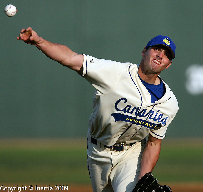 SIOUX FALLS, SD - MAY 15:  Travis Kane #35 of the Sioux Falls Canaries delivers a pitch to the St. Paul Saints in the first inning Friday night at the Sioux Falls Stadium. (Photo by Dave Eggen/Inertia).
