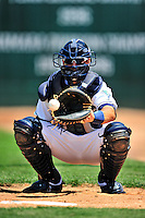 15 July 2010: Vermont Lake Monsters' catcher Cole Leonida warms up a reliever between innings of a game against the Aberdeen IronBirds at Centennial Field in Burlington, Vermont. The Lake Monsters rallied in the bottom of the 9th inning to defeat the IronBirds 7-6 notching their league leading 20th win of the 2010 NY Penn League season. Mandatory Credit: Ed Wolfstein Photo