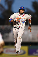 St. Lucie Mets designated hitter Brandon Allen (49), on rehab assignment, runs the bases during a game against the Fort Myers Miracle on April 18, 2014 at Hammond Stadium in Fort Myers, Florida.  St. Lucie defeated Fort Myers 15-9.  (Mike Janes/Four Seam Images)