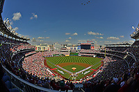 10 October 2012: A sellout crowd of 45,017, the largest in team history at Nationals Park, take in Postseason Playoff Game 3 of the National League Divisional Series between the St. Louis Cardinals and the Washington Nationals at Nationals Park in Washington, DC. The Cardinals shut out the Nationals 8-0 in the third game of their best of five series, giving St. Louis a 2-1 lead in the playoff. Mandatory Credit: Ed Wolfstein Photo