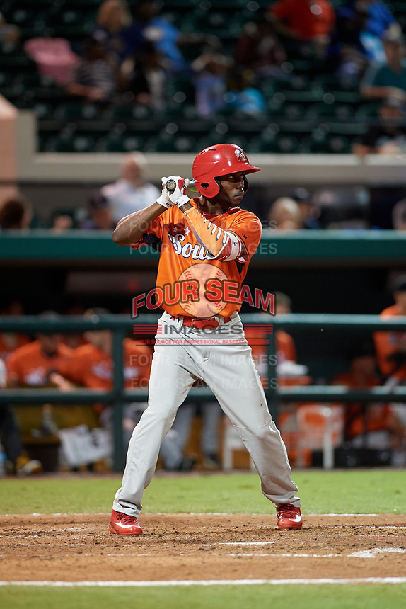 Palm Beach Cardinals Randy Arozarena (4) bats during the Florida State League All-Star Game on June 17, 2017 at Joker Marchant Stadium in Lakeland, Florida.  FSL North All-Stars defeated the FSL South All-Stars  5-2.  (Mike Janes/Four Seam Images)