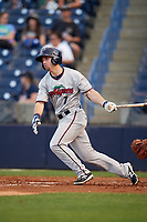 Fort Myers Miracle left fielder Daniel Kihle (7) follows through on a swing during a game against the Tampa Yankees on April 12, 2017 at George M. Steinbrenner Field in Tampa, Florida.  Tampa defeated Fort Myers 3-2.  (Mike Janes/Four Seam Images)