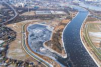 Kreetsand: EUROPA, DEUTSCHLAND, HAMBURG 14.02.2021: Tiedeelbe Konzept Kreetsand, Hamburg Port Authority (HPA), soll auf der Ostseite der Elbinsel Wilhelmsburg zusaetzlichen Flutraum für die Elbe schaffen. Das Tidevolumen wird durch diese strombauliche Massnahme vergroessert und der Tidehub reduziert. Gleichzeitig ergeben sich neue Moeglichkeiten für eine integrative Planung und Umsetzung verschiedenster Interessen und Belange aus Hochwasserschutz, Hafennutzung, Wasserwirtschaft, Naturschutz und Naherholung.