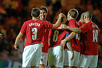 Wales' Joe Ledley celebrates Craig Bellamy's goal with his team mates during the International Friendly between Wales and Luxembourg at Parc y Scarlets in LLanelli..