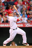 Los Angeles Angels outfielder Mike Trout #27 bats against the New York Yankees at Angel Stadium on September 10, 2011 in Anaheim,California. Los Angeles defeated New York 6-0.(Larry Goren/Four Seam Images)