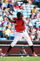 Nashville Sounds shortstop Hector Gomez (14) at bat during a game against the Omaha Storm Chasers on May 20, 2014 at Herschel Greer Stadium in Nashville, Tennessee.  Omaha defeated Nashville 4-1.  (Mike Janes/Four Seam Images)