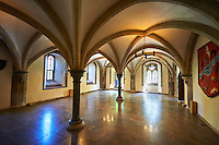 Interior vaulted room of the Bishops Palace of the the medieval Wells Cathedral built in the Early English Gothic style in 1175, Wells Somerset, England
