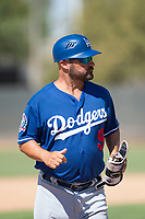 Los Angeles Dodgers hitting coach Chris Gutierrez (9) during an Instructional League game against the Milwaukee Brewers at Maryvale Baseball Park on September 24, 2018 in Phoenix, Arizona. (Zachary Lucy/Four Seam Images)