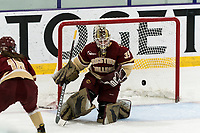 WORCESTER, MA - JANUARY 16: Abigail Levy #39 of Boston College makes a save during a game between Boston College and Holy Cross at Hart Center Rink on January 16, 2021 in Worcester, Massachusetts.