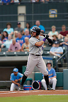 Winston-Salem Dash center fielder Luis Gonzalez (8) at bat during a game against the Myrtle Beach Pelicans at Ticketreturn.com Field at Pelicans Ballpark on July 23, 2018 in Myrtle Beach, South Carolina. Winston-Salem defeated Myrtle Beach 6-1. (Robert Gurganus/Four Seam Images)