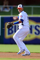 Tennessee Smokies shortstop Javier Baez #9 warms up during game one of a double header against the Huntsville Stars at Smokies Park on July 8, 2013 in Kodak, Tennessee. The Stars won the game 2-0. (Tony Farlow/Four Seam Images)