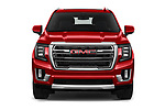 Car photography straight front view of a 2021 GMC Yukon SLT 5 Door SUV Front View
