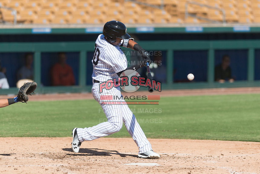 Glendale Desert Dogs shortstop Thairo Estrada (90), of the New York Yankees organization, swings at a pitch during an Arizona Fall League game against the Mesa Solar Sox at Camelback Ranch on October 15, 2018 in Glendale, Arizona. Mesa defeated Glendale 8-0. (Zachary Lucy/Four Seam Images)