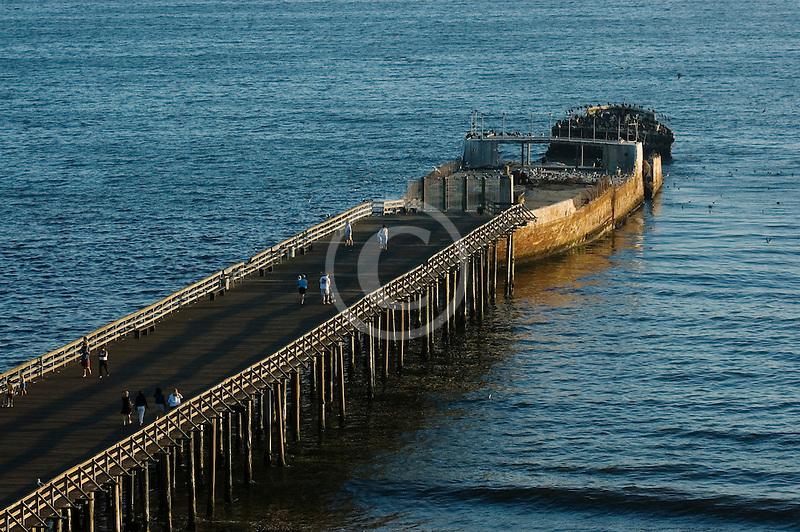 California, Santa Cruz County, Aptos, Pier and cement ship