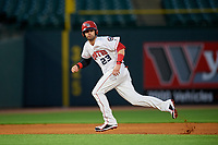 Louisville Bats right fielder Jesse Winker (23) running the bases during a game against the Columbus Clippers on May 1, 2017 at Louisville Slugger Field in Louisville, Kentucky.  Columbus defeated Louisville 6-1  (Mike Janes/Four Seam Images)