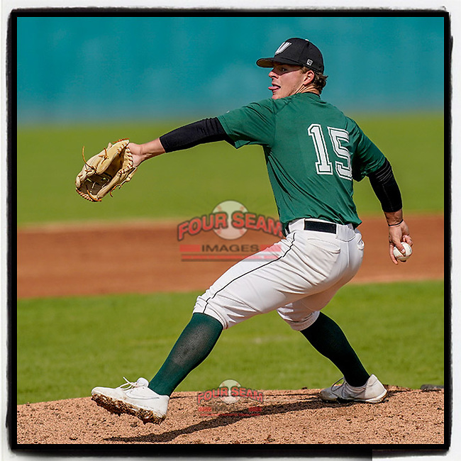 Ben Ferrer (15) of the University of South Carolina Upstate Spartans Green team delivers a pitch in the Green and Black Fall World Series Game 3 on Sunday, November 1, 2020, at Cleveland S. Harley Park in Spartanburg, South Carolina. Green won, 3-2. (Tom Priddy/Four Seam Images)