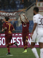 Football, Serie A: AS Roma - Torino, Olympic stadium, Rome, January 19, 2019. <br /> Roma's Stephan El Shaarawy (c) celebrates after scoring during the Italian Serie A football match between AS Roma and Torino at Olympic stadium in Rome, on January 19, 2019.<br /> UPDATE IMAGES PRESS/Isabella Bonotto