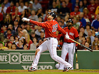 8 June 2012: Boston Red Sox first baseman Adrian Gonzalez at bat against the Washington Nationals at Fenway Park in Boston, MA. The Nationals defeated the Red Sox 7-4 in the opening game of their 3-game series. Mandatory Credit: Ed Wolfstein Photo