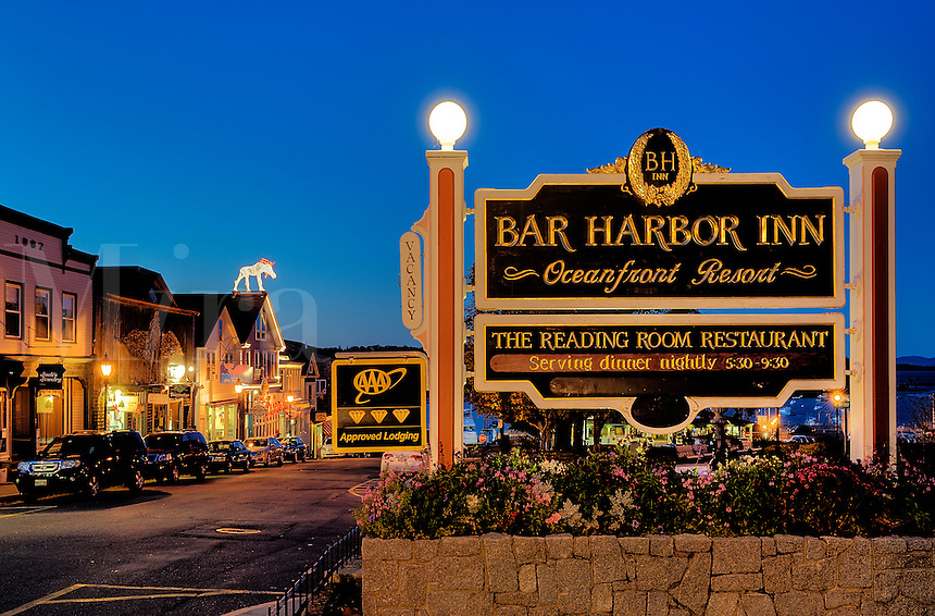 Town of Bar Harbor at night, Maine, ME, USA