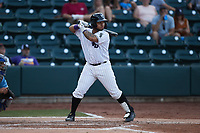 Kleyder Sanchez (18) of the Winston-Salem Dash at bat against the Hickory Crawdads at Truist Stadium on July 10, 2021 in Winston-Salem, North Carolina. (Brian Westerholt/Four Seam Images)