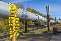 Oil pipeline mile sign, Trans Alaska Oil Pipeline, Fairbanks, Alaska