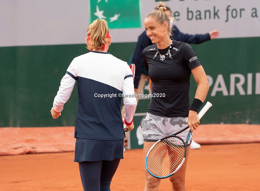 Paris, France, 30 May, 2020, Tennis, French Open, Roland Garros, Womans doubles,: Arantxa Rus (NED) (back) and Marie Bouzkova  (CZE)<br /> Photo: Fred Mullane/tennisimages.com