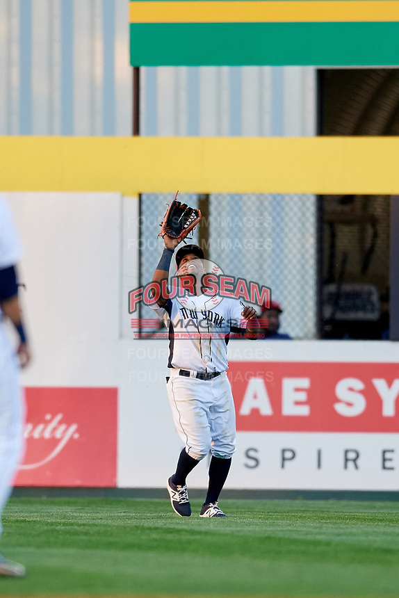 Binghamton Rumble Ponies center fielder John Mora (4) settles under a fly ball during a game against the Erie SeaWolves on May 14, 2018 at NYSEG Stadium in Binghamton, New York.  Binghamton defeated Erie 6-5.  (Mike Janes/Four Seam Images)
