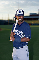 AZL Padres 2 Olivier Basabe (4) poses for a photo before a game against the AZL Cubs on August 28, 2017 at Sloan Park in Mesa, Arizona. AZL Cubs defeated the AZL Padres 2 9-4. (Zachary Lucy/Four Seam Images)