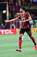 ATLANTA, GA - MARCH 07: ATLANTA, GA - MARCH 07: Atlanta United defender George Campbell tracks the ball during the match against FC Cincinnati, which Atlanta won, 2-1, in front of a crowd of 69,301 at Mercedes-Benz Stadium during a game between FC Cincinnati and Atlanta United FC at Mercedes-Benz Stadium on March 07, 2020 in Atlanta, Georgia.