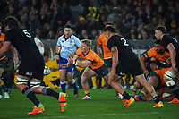Australia's Tate McDermott passes during the Bledisloe Cup rugby match between the New Zealand All Blacks and Australia Wallabies at Eden Park in Auckland, New Zealand on Saturday, 7 August 2021. Photo: Dave Lintott / lintottphoto.co.nz