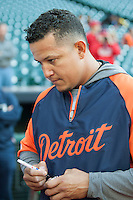 Detroit Tigers third baseman Miguel Cabrera (24) signs autographs before the MLB baseball game against the Houston Astros on May 3, 2013 at Minute Maid Park in Houston, Texas. Detroit defeated Houston 4-3. (Andrew Woolley/Four Seam Images).
