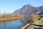BOLZANO - ADIGE - ETSCH -Peter Neumair's Murder Investigation. Salorno, Salurn, Italy on February 13, 2021. In action rescue squad and Police Investigators using a boat with a dog to search for the body of the father of Benno Neumair in the Adige River.