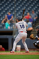 Reading Fightin Phils Austin Bossart (18) at bat during an Eastern League game against the Akron RubberDucks on June 4, 2019 at Canal Park in Akron, Ohio.  Akron defeated Reading 8-5.  (Mike Janes/Four Seam Images)