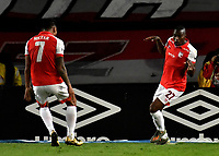 BOGOTÁ-COLOMBIA, 09-11-2019: Maicol Balanta de Independiente Santa Fe, celebra con Jefferson Duque después de anotar su gol a América de Cali, durante partido de la fecha 1 de los cuadrangulares semifinales entre Independiente Santa Fe y América de Cali, por la Liga Águila II 2019, jugado en el estadio Nemesio Camacho El Campín de la ciudad de Bogotá. / Maicol Balanta of Independiente Santa Fe celebrates with Jefferson Duque scoring his goal to America de Cali, during a match of the 1 date of the semifinals quarter finals between Independiente Santa Fe and America de Cali, for the Aguila Leguaje II 2019 played at the Nemesio Camacho El Campin Stadium in Bogota city. / Photo: VizzorImage / Luis Ramírez / Staff.
