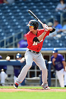 Frisco Rough Riders first baseman Drew Robinson (17) at bat during the first game of a doubleheader against the Tulsa Drillers on May 29, 2014 at ONEOK Field in Tulsa, Oklahoma.  Frisco defeated Tulsa 13-4.  (Mike Janes/Four Seam Images)