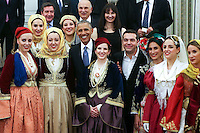 Pictured: US President Barack Obama and Greek Prime Minister Alexis Tsipras pose for a group picture with people in traditional greek costumes. Tuesday 15 November 2016<br /> Re: US President Barack Obama attends official stat banquet at the Presidential Mansion during his visit to Athens Greece