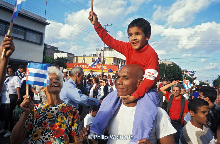 """100,000 Cubans demonstrate in Havana for the return of Elian Gonzalez from the USA. The 6 year-old boy survived a shipwreck in which his mother and stepfather drowned and, according to the Cuban government, was used as a """"political football"""" by right-wing Cuban groups based in Miami."""